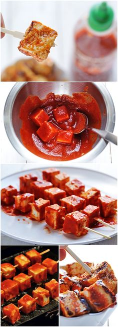 Spicy Sriracha Grilled Tofu #vegetarian--- baked it instead and was seriously amazing!