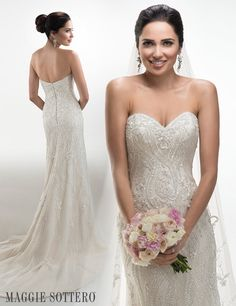 "Glimmering beaded sheath  ""Donna"" wedding dress with Swarovski crystals from Maggie Sottero."