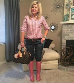 "Pink prep for denim day.  Also, I'm pretty sure this is my ""Whatcha talkin' about, Willis?"" face. #hunterboots #rainboots #boots #fashion #spring"