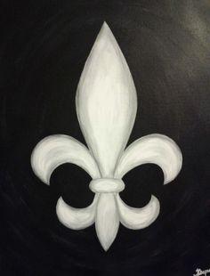 Fleur de Lis Black & White Painting 16x20