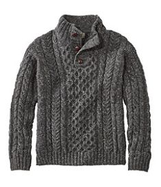 Heritage Sweater, Irish Fisherman's Button-Mock - LL Bean Canada Mens Button Up Sweater, Mens Knit Sweater, Kakis, Sweater Fashion, Fashion Boots, Men Looks, Mens Sweatshirts, Mens Fashion, Irish Fashion