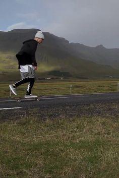 Justin Bieber wearing  Hopps Big Logo Skateboard Deck, Yea. Nice Folded Beanie, Off-White c/o Virgil Abloh Stripe Print Track Pants, Fear of God Dropcrotch Drawstring Shorts, Vans Moon Slip-On