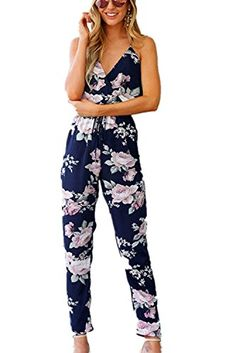 0b5b0db2bec Qisc Womens Jumpsuit Romper Women Summer Floral Sleeveless Boho Playsuit  Club Jumpsuit Romper Elastic Waisted Long Pant