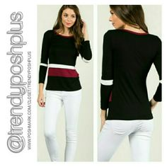 Round Neck Tri-Color Top Available in Small, Medium, Large,  Save 10 % with bundle.  Made in USA Tops