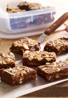 Sweet & Salty Brownies — We started with a basic brownie and added crunchy roasted peanuts and a layer of gooey caramel plus a bit of cayenne pepper for added excitement.