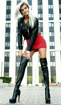 tight outfit night out fantasy lacer black hot biker curvy street style - Boots Black High Boots, High Leather Boots, High Heel Boots, Ankle Boots, Botas Sexy, Hot High Heels, Sexy Heels, Mode Outfits, Sexy Outfits