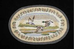 """HAND PRINTED FLYING MALLARD RUG - This rug has been hand printed with as many as ten different colours! Detailed images with unparalleled shading and colour sets the standard for this beautiful rug. 20"""" x 30""""."""