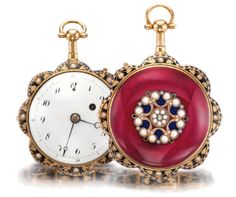 A GOLD ENAMEL AND PEARL-SET QUARTER REPEATING SCALLOPED FORM WATCH CIRCA 1800