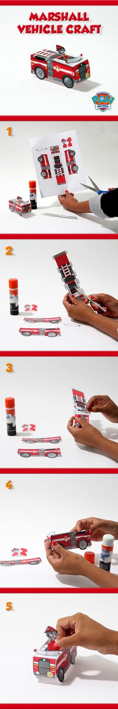 Create Marshall & his vehicle from PAW Patrol with just paper, scissors, and some glue!