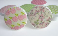 Pretty Pink and Green Floral Print Knobs Pink and by LeilasLoft