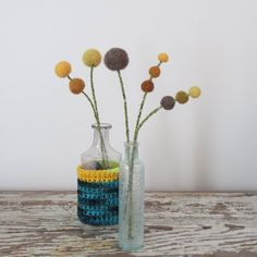 Yellow flower bouquet.  Wool felt pom poms.  Woodland Decoration.   Buttercups, Craspedia. Ombre Pompoms.  Modern Mustard and brown floral by berryisland on Etsy