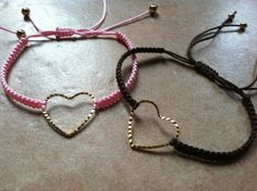 Macrame friendship bracelet with a gold plated heart by asiako25, $6.00