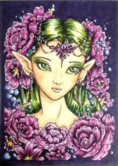 Done by Lynn Cartan during a Kit and Clowder colour along live stream using a digital image from Aurora Wings on Etsy.  Copic marker.