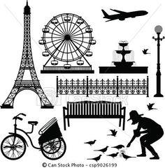 Vector - parís, Eiffel, torre, Ferris, rueda - stock de ilustracion, ilustracion libre de, stock de iconos de clip art, logo, arte lineal, retrato de EPS, Retratos, gráficos, dibujos gráficos, dibujos, imágenes vectoriales, trabajo artístico, Arte Vectorial en EPS