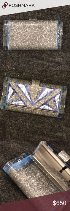 """Edie Parker designer mirror sparkle clutch Designer Edie Parker custom made silver blue clutch bag. Lightly used. Has few small marks that barley show. Pictures have been provided.  Lara Empire in silver glitter with royal blue and marine design on lid, and marine backlit ice ends. -100% hand poured acrylic -Acrylic tab closure -Features an interior mirror with etched logo -Fits a smartphone including an iPhone 6+ -Measures 4 1/2"""" H x 8 1/2"""" W x 1 3/4"""" D -Handmade in America edie parker Bags…"""