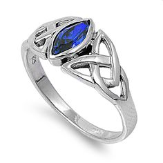925 Sterling Silver CZ Wicca Pagan Triquetra Simulated Sapphire Ring 9MM