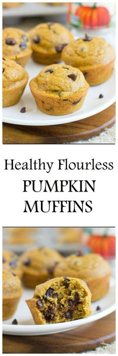 Healthy Flourless Pumpkin Muffins- just 10 minutes and a blender is all you need for these soft muffins! #cleaneating #dairyfree #glutenfree #oilfree #refinedsugarfree