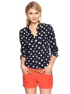 fitted boyfriend shirt black + white polka dots :: fall fashion { via gap.com }