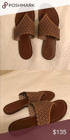 Tory Butch sandals Almost brand new! Worn 1 time. Tan leather sandals. Must have! Tory Burch Shoes Sandals