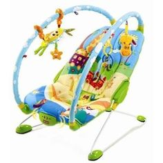 Tiny Love Gymini Bouncer.   Love the arc design that allows for easy toy switching/toy positioning and easy baby access. (Also, the included crab toy rocks!)