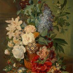 muurdecoratie wanddecoratie schilderij kunst rijksmuseum bloemen in een terracotta vaas eelke jelles eelkema