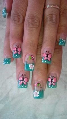 Uñas andre Cute Nail Art, Beautiful Nail Art, Gorgeous Nails, Cute Nails, Toe Designs, Nail Art Designs, Butterfly Nail Art, Elegant Nails, Flower Nails