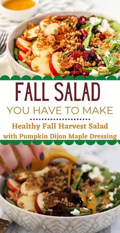 Delicious, Healthy, Healthy Fall Harvest Salad with Pumpkin Maple Dijon Dressing, Good Healthy Recipe Fall Dinner Recipes, Fall Recipes, Thanksgiving Recipes, Autumn Recipes Healthy, Dinner Salad Recipes, Healthy Fall Soups, Romantic Dinner Recipes, Dinner Salads, Lunch Recipes