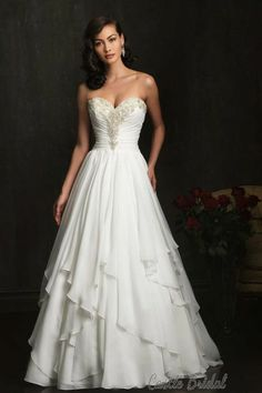 Ball Gown Skrit Sleeveless Sweetheart Neck Natural Waist Layers Of Chiffon Romantic Wedding Dress at Castlebridal.com