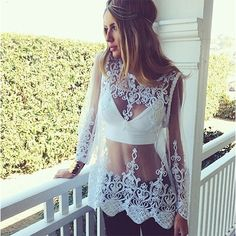 You can not be more sexy in this lace smock. See-through style,long sleeve and round neck design. Pair it with your sexy bikini. You are the most beautiful scenery in the seaside.