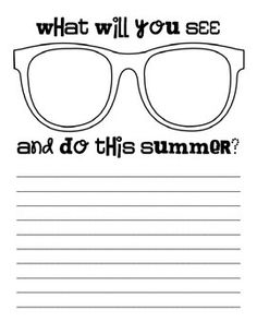 Summer Sights: Sunglasses Writing // Used in my creative writing class. Students illustrate their summer plans inside the lenses of the sunglasses! Back 2 School, End Of School Year, Too Cool For School, School Stuff, Activies For Kids, Creative Writing Classes, Teacher Boards, Student Drawing, School Subjects