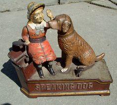 Speaking Dog mechanical bank, cast iron