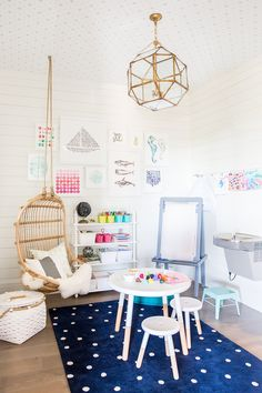 Details: Kate Spade Rug c/o, Minted art prints c/o, Minted pillow c/o, Serena and Lily table, Land of Nod art easel, tin buckets, baskets, shelves c/o, Serena and Lily hanging chair Today I couldn&…