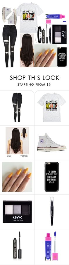 """""""Ashlee: July 10, 2016"""" by disneyfreaks39 ❤ liked on Polyvore featuring Topshop, LeSalon, Converse, Casetify, NYX, Maybelline and Miss Selfridge"""