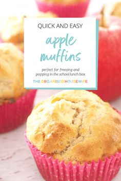 Recipes Snacks Muffins These quick and easy Apple Muffins are perfect for popping in the freezer and having on hand for school lunches and afternoon snacks. Healthy Cake Recipes, Apple Cake Recipes, Delicious Cake Recipes, Muffin Recipes, Baby Food Recipes, Sweet Recipes, Baking Recipes, Apple Recipes To Freeze, Healthy Snacks