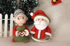 Santa Claus and Mrs. Claus Polymer Clay Santa Clay от GnomeWoods