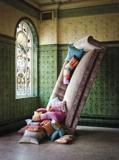 Kallianthi by Clarissa Hulse for Harlequin. Like the mix of tiles & pile fabrics/velvet.