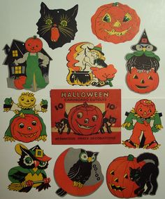 Vintage Halloween Cut outs with Original Package Vintage Halloween Fotoausschnitte mit Originalverpackung Retro Halloween, Halloween Cut Outs, Vintage Halloween Images, Vintage Halloween Decorations, Halloween Ornaments, Halloween Items, Halloween Signs, Halloween Pictures, Vintage Holiday