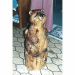 Raccoon Chainsaw Carving Stump Sculpture