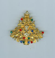 Corel Christmas Tree Pin Brooch Floral Brushed Gold Rhinestones Book Piece #cshort0319 Christmas in July on Bonanza.com