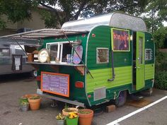 vintage camper food truck | This one is a gem – a little converted travel trailer. Visually this ...