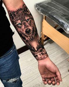 Wolf Tattoos Men, Animal Tattoos For Men, Lion Head Tattoos, Tattoos Arm Mann, Hand Tattoos For Guys, Half Sleeve Tattoos For Guys, Wolf Tattoo Forearm, Tribal Wolf Tattoo, Cool Forearm Tattoos