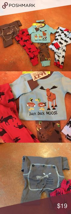 4 boys  Moose Pjs , 2t one NWT 4 great pairs of PJs ! 3 two piece sets and a one piece. 3 pairs EUC and one new with tags! All reasonable offers excepted! Pajamas Pajama Sets