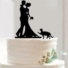 Free Shipping Bride and Groom Cake Topper Acrylic Silhouette Wedding Cake Topper Wedding Cake Topper Cake Decor with Pet Cat(China (Mainland))