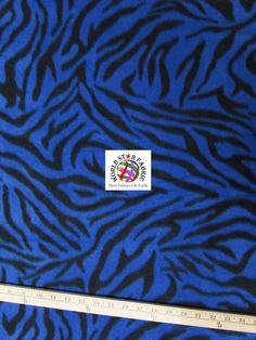 "#Blue #Zebra Anti-pill Fleece #Fabric 60"" Width Sold By The Yard"
