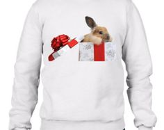Christmas Rabbit In a Gift Box Men's Christmas Sweatshirt Jumper