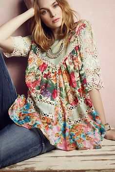 I love this top - gorgeous- Frangipani Peasant Top #anthropologie dont like the price 395