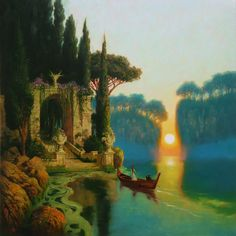 """""""Island Of The Old Gods"""". Influenced by the Island Of The Dead paintings by Arnold Bocklin and Ferdinand Keller. Oil on canvas 23 3/4"""" x 23 3/4"""".Mark Harrison"""