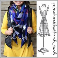 Royal Plaid Blanket Scarf Gorgeous royal blue plaid blanket scarf. Wear as a shaw or scarf. Made of a cotton/knit blend. Threads & Trends Accessories Scarves & Wraps