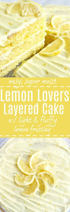 easy lemon layered cake is for true lemon lovers! 3 layers of moist, sweet, lemon cake frosted with fluffy, light, lemon pudding frosting! Jazz up a boxed cake mix for the ultimate layered cake dessert that is easy and bursting with lemon flavor. Lemon Cake Frosting, Pudding Frosting, Lemon Layer Cakes, Easy Lemon Cake, Best Lemon Cake Recipe, Fluffy Frosting, Lemon Cream Cheese Frosting, Lemon Icing, Lemon Cakes
