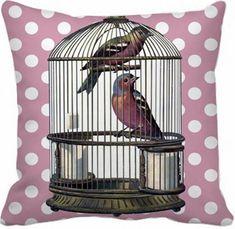 Capa de Almofada Vintage Pássaros-Gaiola